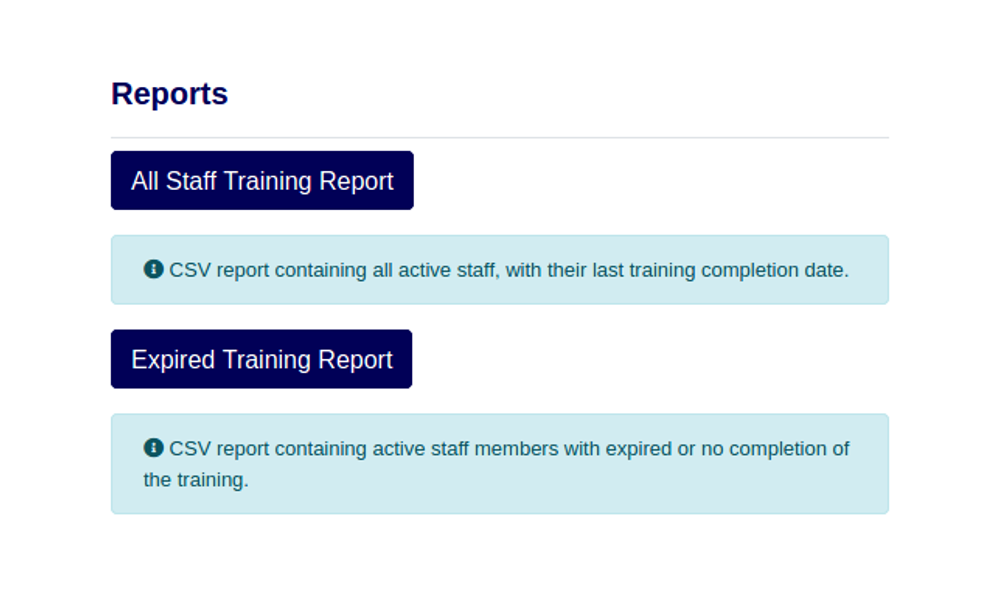 Reports can be exported easily so they can be uploaded to your training records.